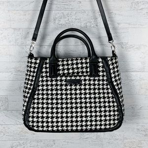 Vera Bradley houndstooth quilted fabric tote large